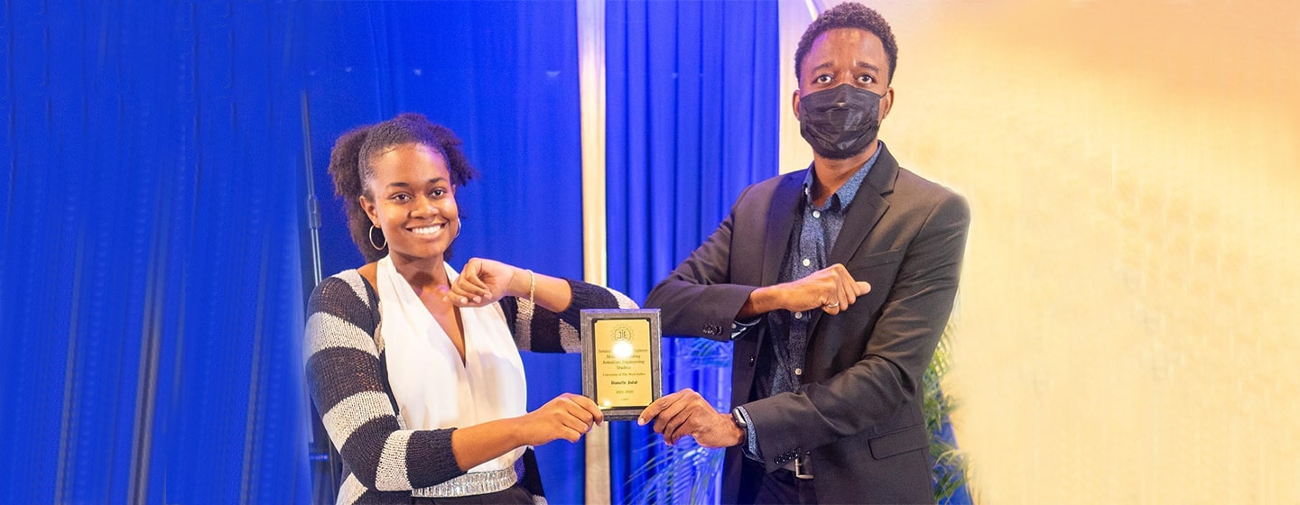 Danelle Julal receiving the 2020 JIE Award for top engineering student at UWI, Mona
