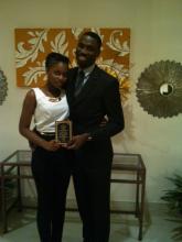 Tena Williams (MSE Staff) and Raymour Wilson (UWI Mona Top Engineering Student, 2014)