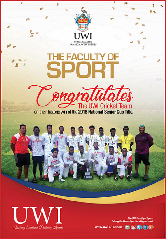UWI Mona Cricket Team wins National Title