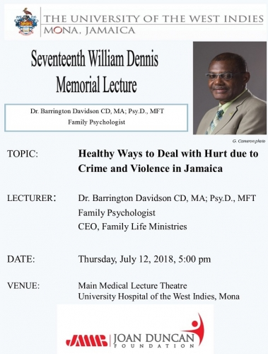 17th William Dennis Lecture  - July 12 2018