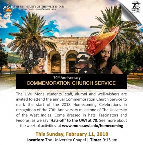 70th Anniversary Commemoration Church Service:  Hats-off to the UWI at 70