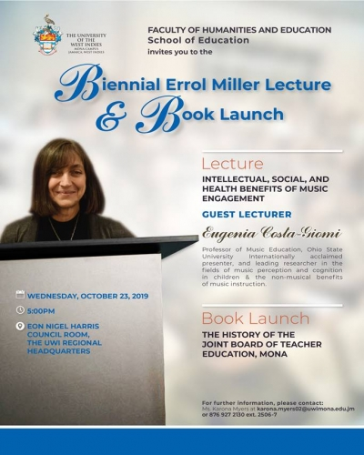 Biennial Errol Miller Lecture and Book launch