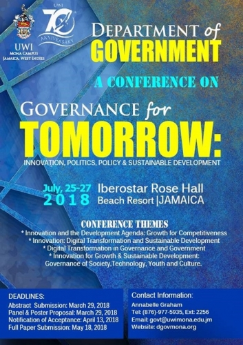 Call for Papers Department of Government Conference - Governance for Tomorrow