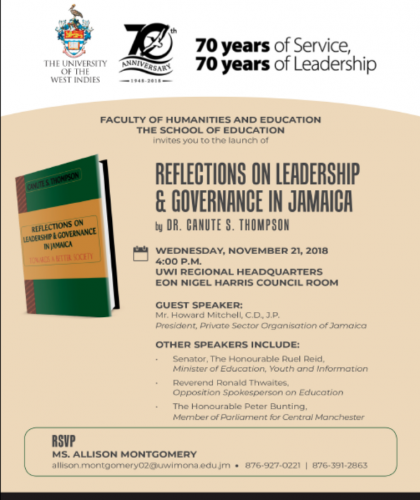 Book Launch | Reflections on Leadership & Governance in Jamaica