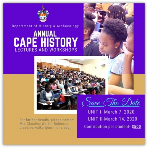 Department of History and Archaeology- Annual CAPE History Lectures and Workshops