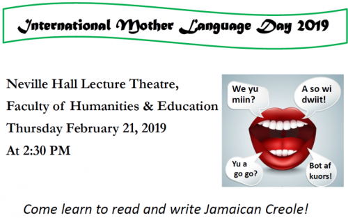 International Mother Language Day 2019 | The Jamaican Language Unit
