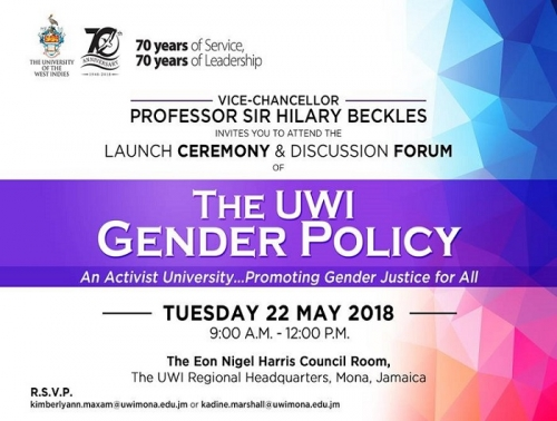 Invitation University of the West Indies Gender Policy Launch