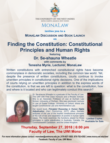 MonaLaw Discussion and Book Launch Finding the Constitution Constitutional Principles and Human Rights