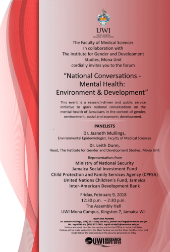 National Conversations Mental Health Environment & Development The UWI Research Days Forum