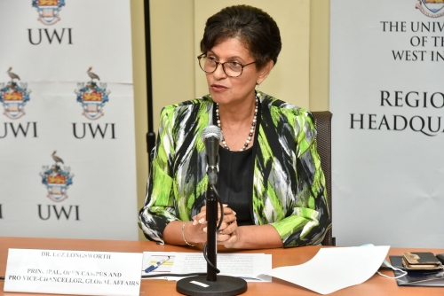 Pro Vice-Chancellor, Global Affairs and Principal of The UWI Open Campus, Dr Luz Longsworth delivers closing remarks.