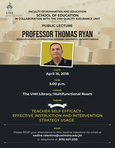 Public Lecture-Teacher Self Efficacy: Effective Instruction and Intervention Strategy Usage, School of Education, FHE