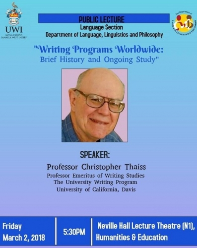 "Public Lecture | ""Writing Programs Worldwide: Brief History and Ongoing Study"""