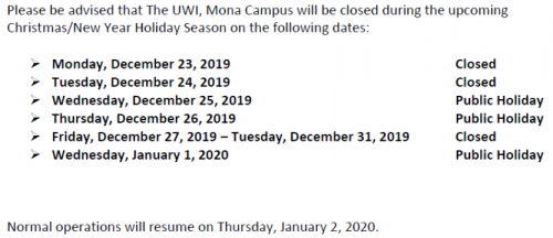 The UWI-Mona Closing Dates For The 2019 Christmas/New Year Holiday Season