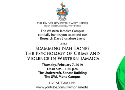 URD2019 -WJC Signature Event - Scamming Nah Done The Psychology of Crime and Violence in Western Jamaica