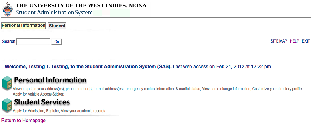 Student Administration System Screenshot