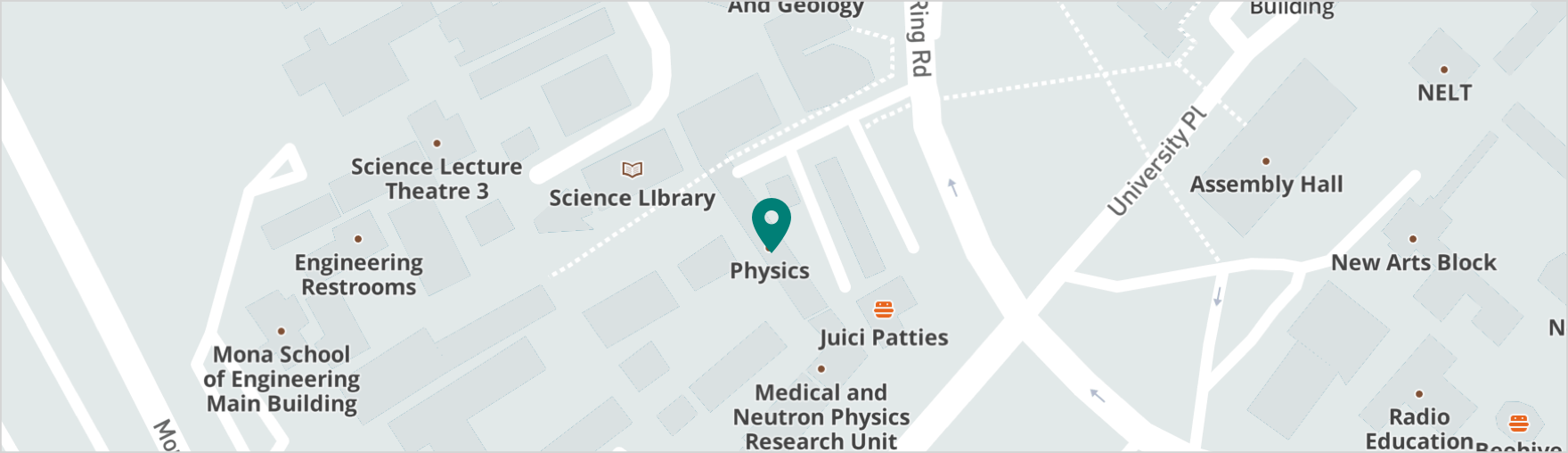 Map showing location of Physics Department