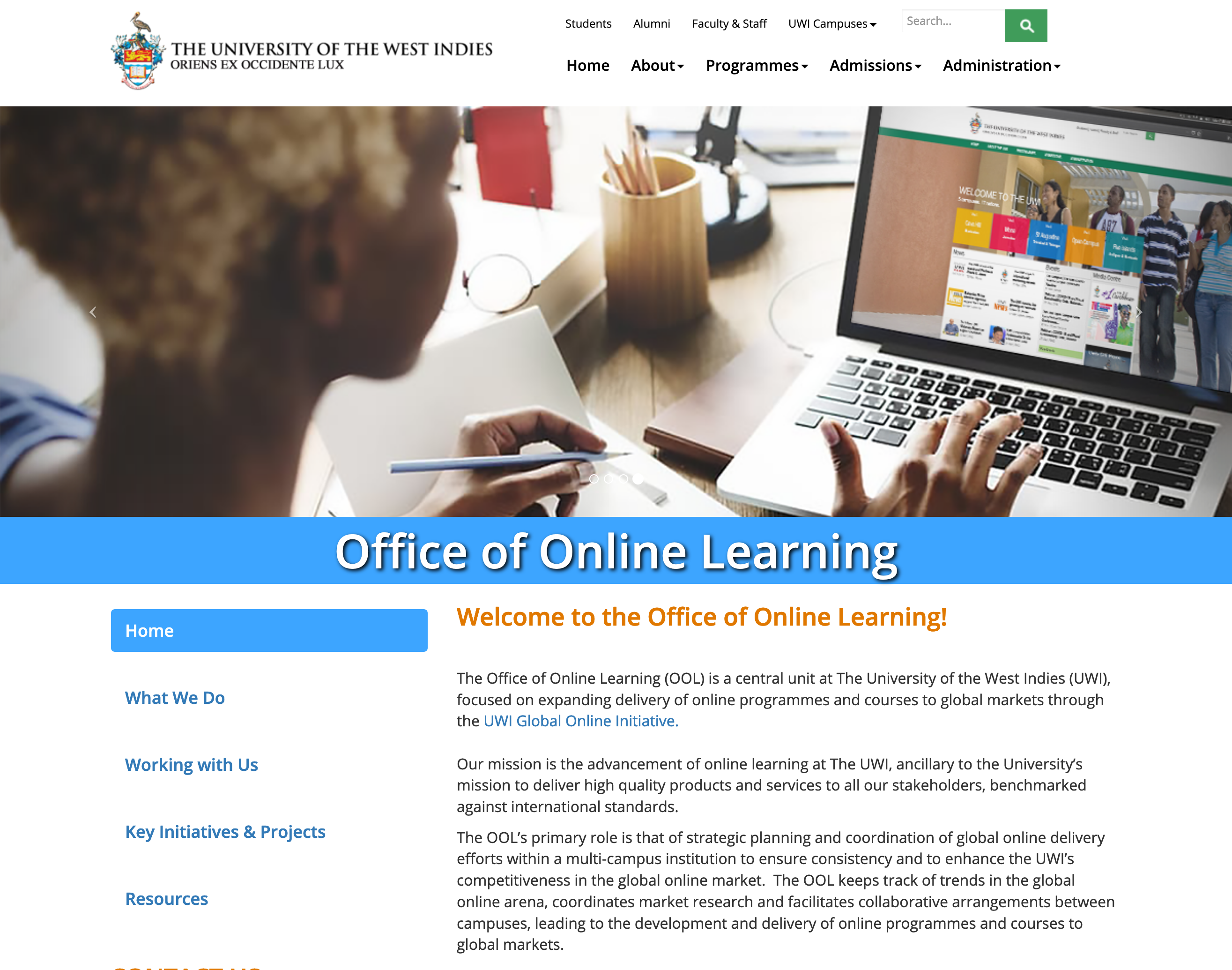 Screenshot of the Office of Online Learning Website